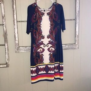White and Blue paisley dress